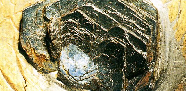 ヘマタイト(Hematite) 酸化鉄赤の一種・主成分:酸化鉄 外見は錆びた鉄状であったり、磨かれた黒っぽい金属のようだったりしますが、その名の示す通り (Hemaとは赤いという意味)砥石などで水をつけてゆっくりと研ぐと真っ赤な色が出てきます。写真の標本は板状に結晶していますが、このようなこのもあります。標本産地:Rio Marina,Elba,Italy