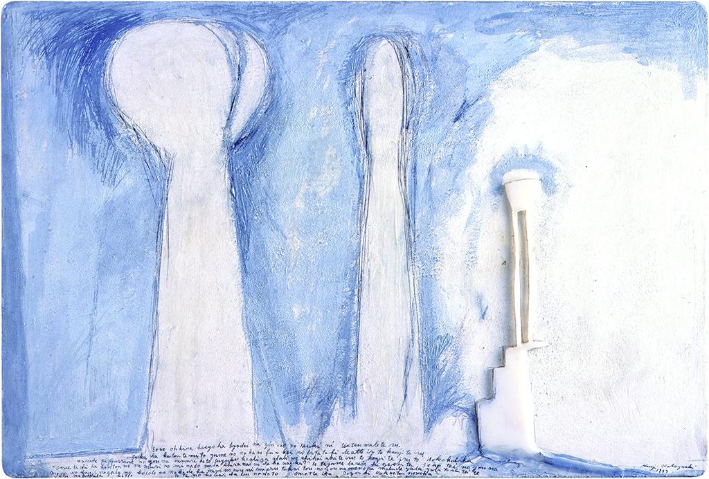 「銀色の大気-ATMOSPHERE IN SILVER 」板に紙、銀筆、亜鉛末、油彩、樹脂ロウ(paper,silver point, zinc powder,oil,wax resin on board ) 600X900X30mm 1999
