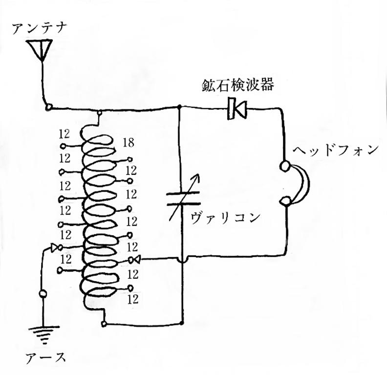 [直接結合回路鉱石受信機]回路図