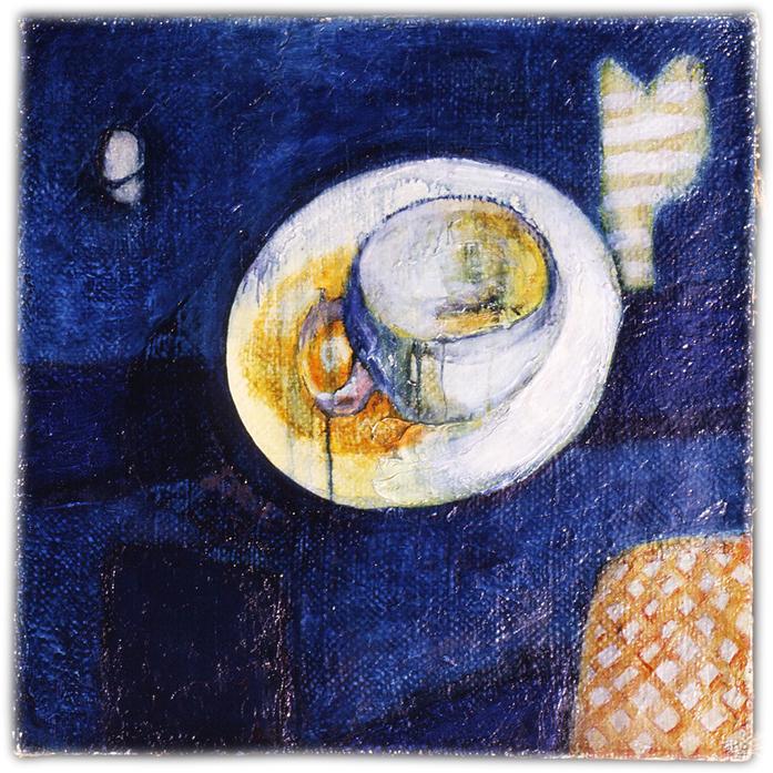 [MAMA] 1977 黄麻に油彩、膠(コーヒー豆の袋を解いてキャンバスに仕立てている。七宝焼のような青色は自作絵の具)