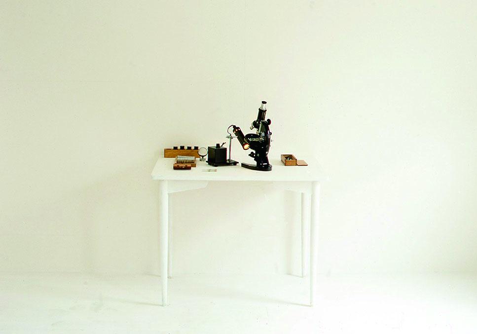 小林健二の自作プレパラートと顕微鏡
