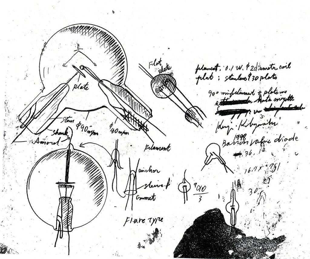 小林健二氏によるオリジナル真空管の構想スケッチ。3極管の他にも2極管も製作中。