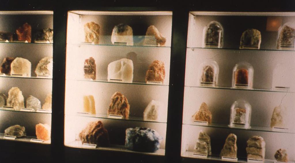 ドイツ・ミュンヘンの自然史科学博物館の鉱物標本展示室。
