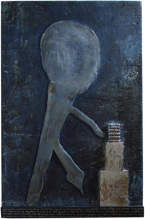 「フルヌマユ;夜の怪物-MONSTER IN THE NIGHT」 アンコスティック、油彩、板encaustic,oil on board 1392X910X40mm 1998