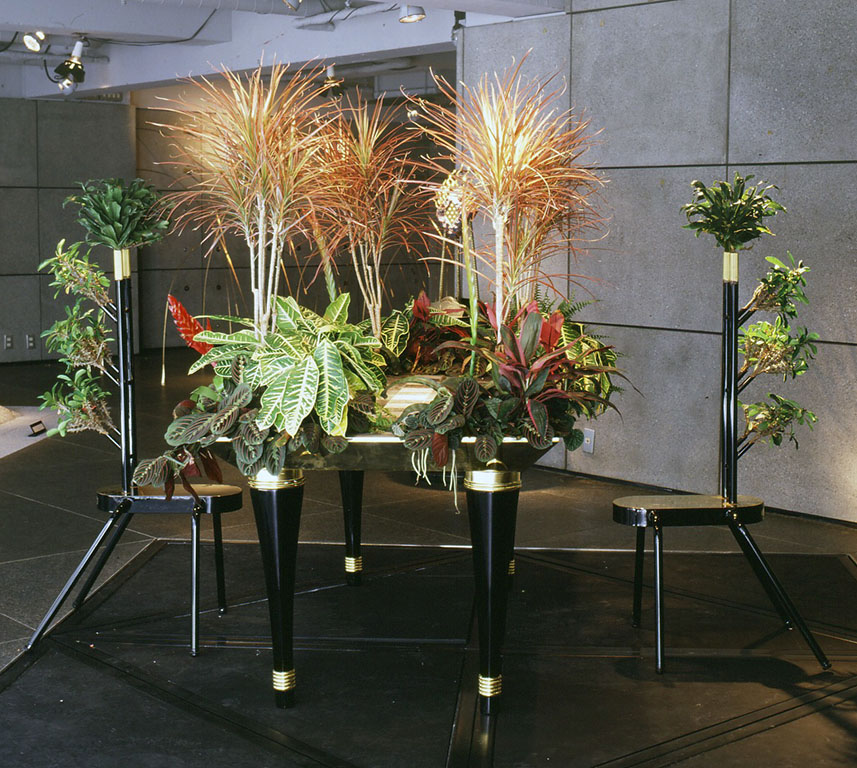 小林健二製作の植物と一体化した家具。根が植えられている状態で展示されています。